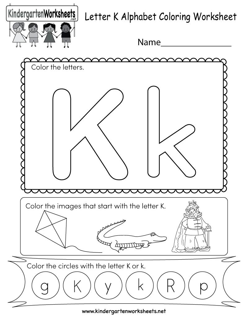 Letter K Coloring Worksheet - Free Kindergarten English in Letter K Worksheets Pdf