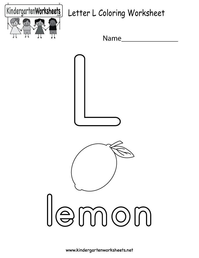 Letter L Coloring Worksheet For Preschoolers Or for Letter L Worksheets For Toddlers
