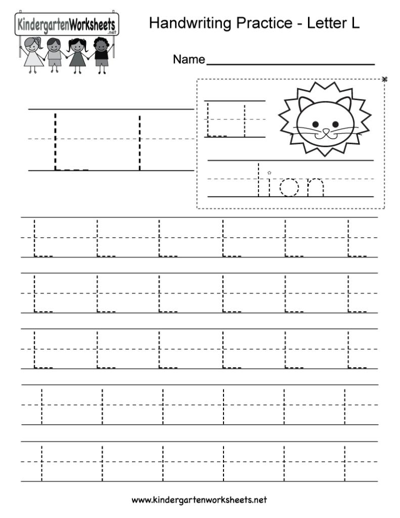 Letter L Writing Practice Worksheet   Free Kindergarten Pertaining To Letter B Worksheets Printable