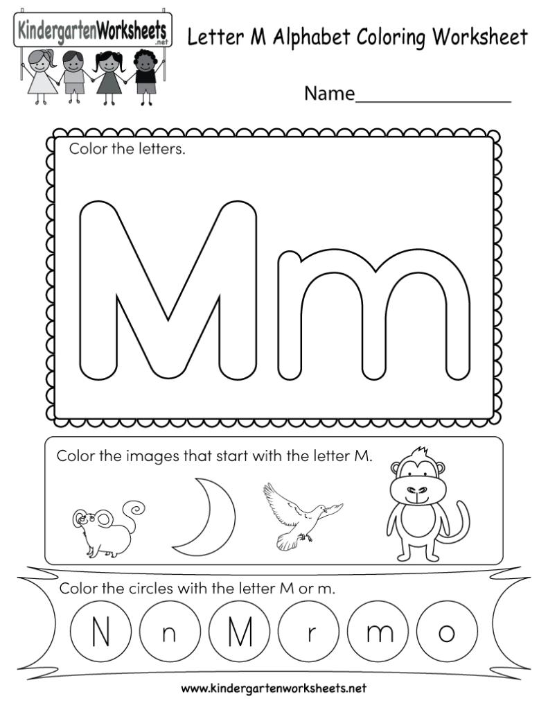 Letter M Coloring Worksheet   Free Kindergarten English With Regard To Letter M Worksheets For Kinder