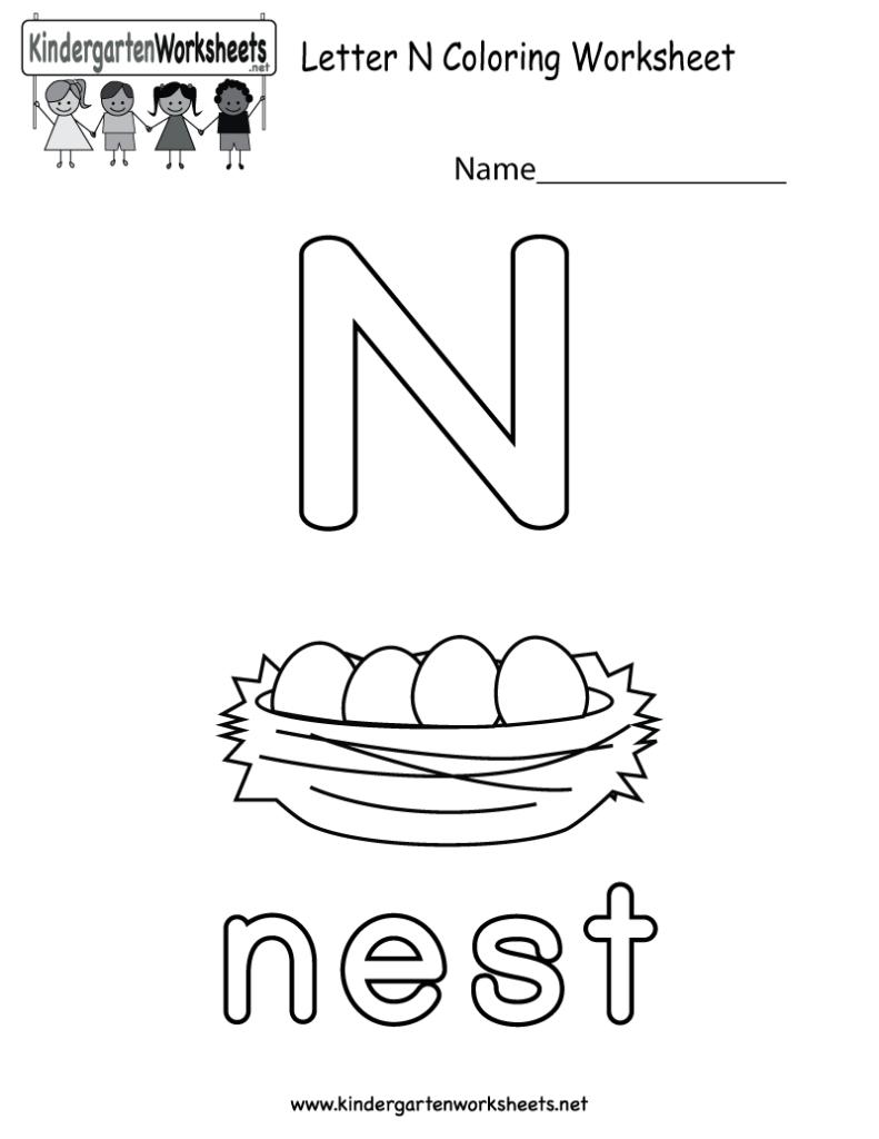 Letter N Coloring Worksheet For Preschoolers Or For Letter N Worksheets For Toddlers