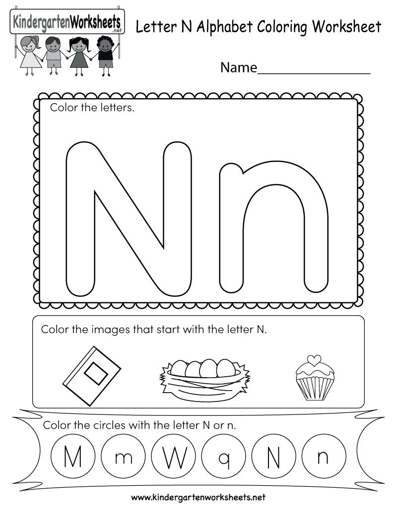 Letter N Coloring Worksheet - Free Kindergarten English inside Letter N Worksheets For Toddlers