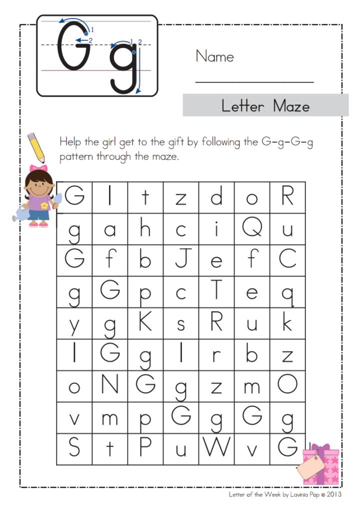 Letter Of The Week G Maze.pdf   Google Drive | Alphabet Within Alphabet Phonics Worksheets Pdf