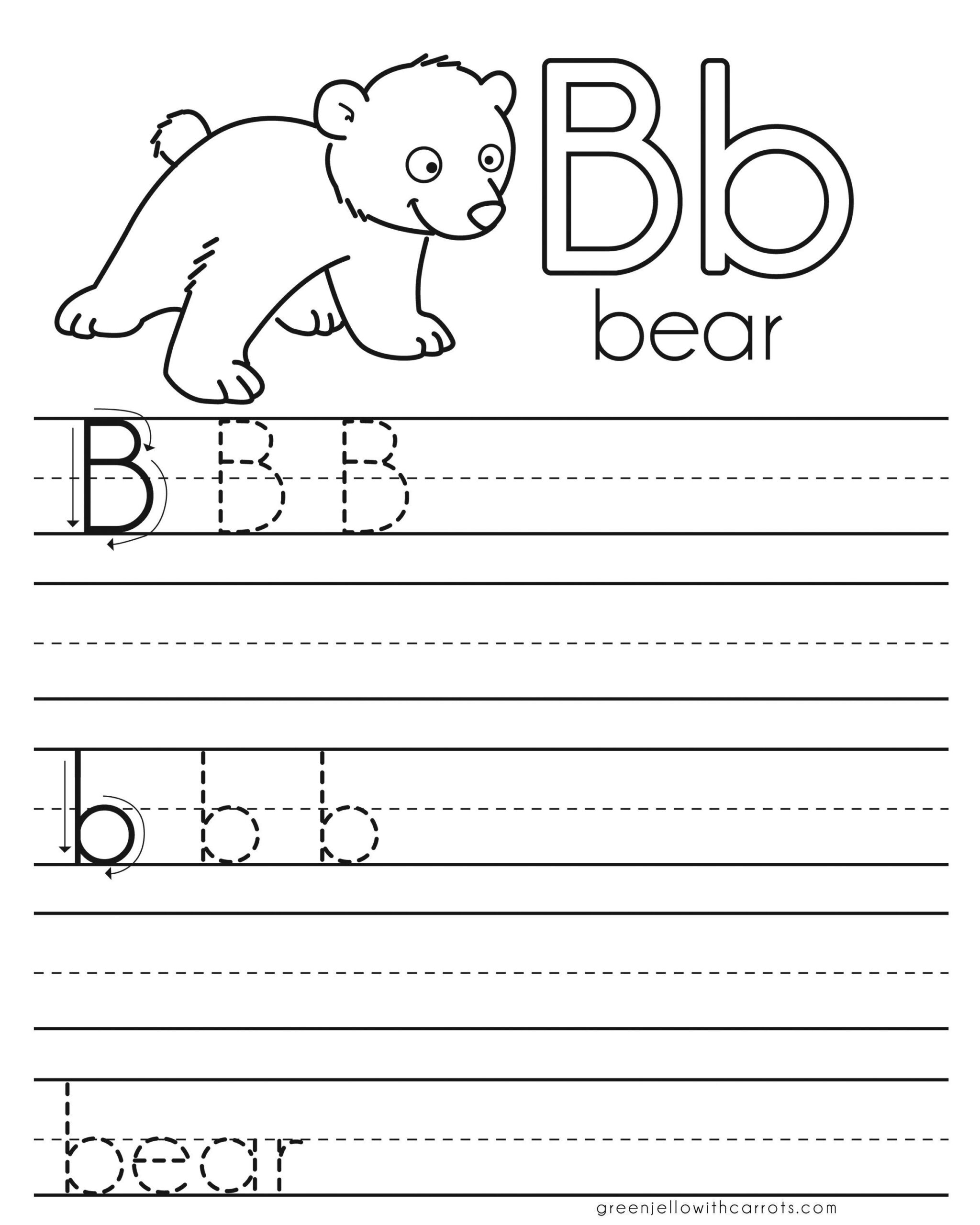 Letter Practice: B Worksheets | Writing Practice Worksheets in Letter B Worksheets For First Grade