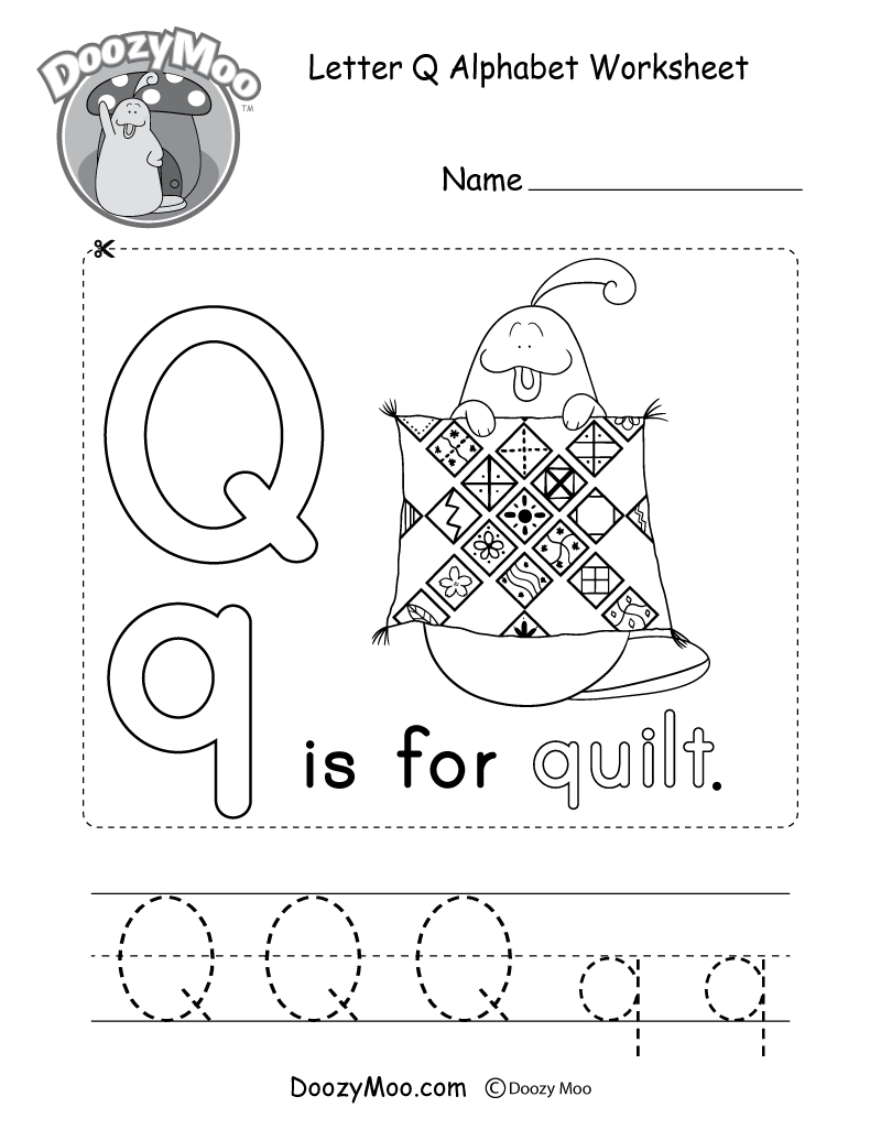 Letter Q Alphabet Activity Worksheet - Doozy Moo inside Alphabet Activity Worksheets