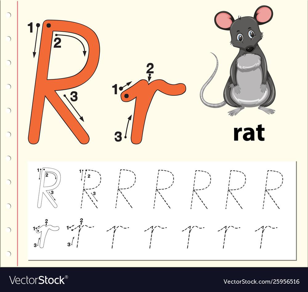 Letter R Tracing Alphabet Worksheets regarding Letter R Worksheets Pdf