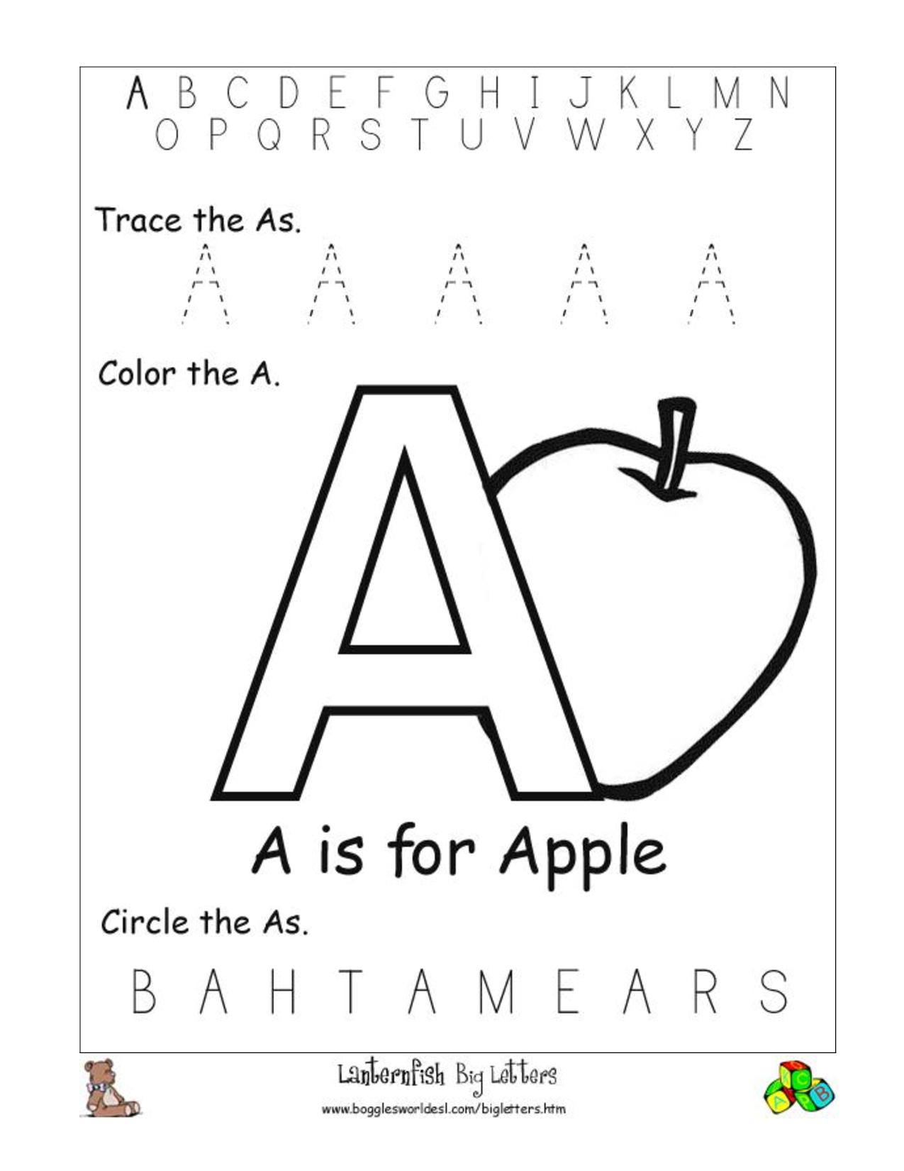 Letter Recognition Worksheets | Alphabet Worksheet Big for Letter A Worksheets For Preschool