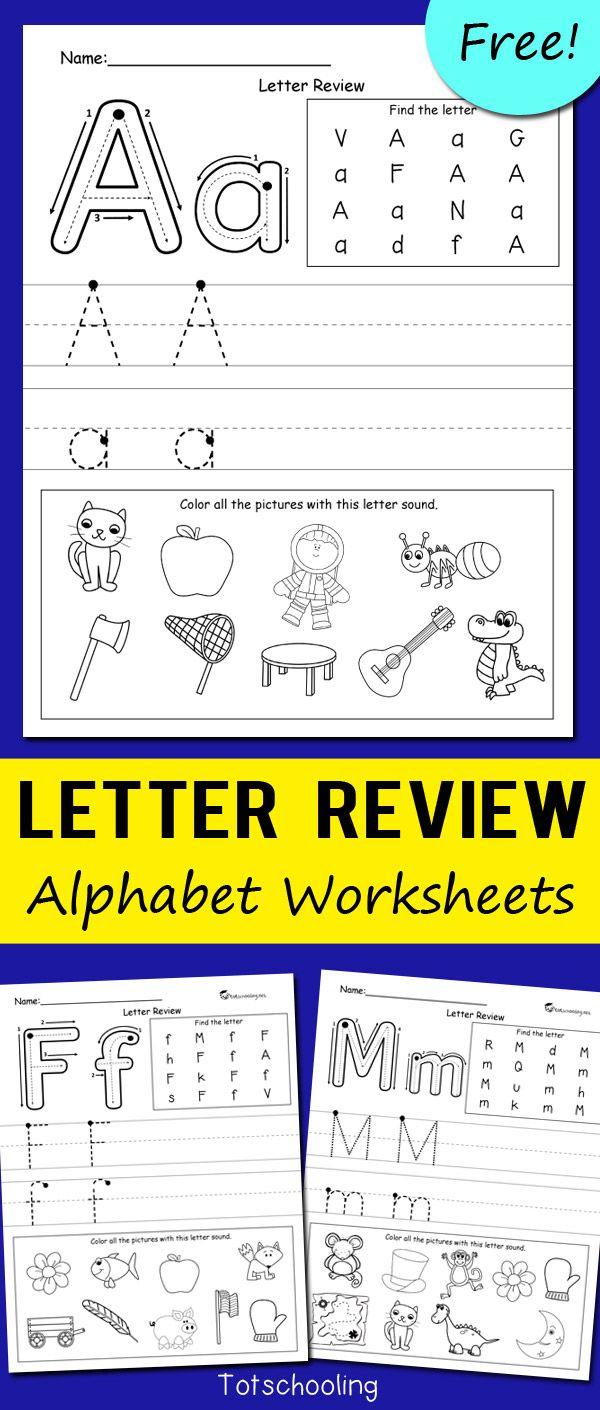 Letter Review Alphabet Worksheets | Deutsch | Pinterest with Alphabet Review Worksheets For Pre-K