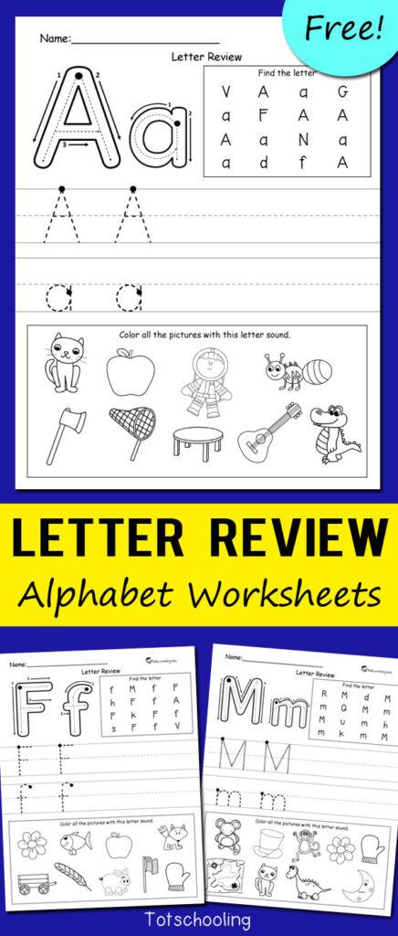 Letter Review Alphabet Worksheets   Totschooling   Toddler With Letter Worksheets Kindergarten Free