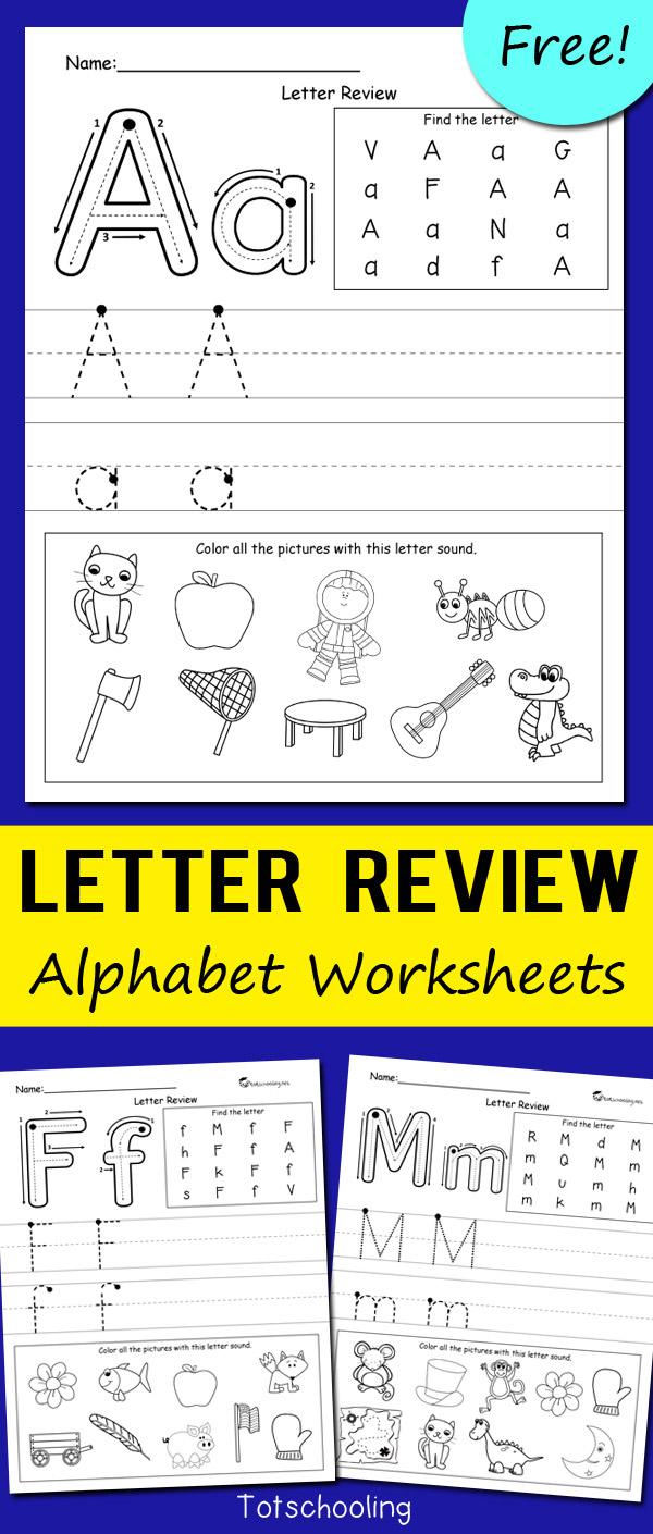 Letter Review Alphabet Worksheets   Totschooling - Toddler with Letter Worksheets Kindergarten Free