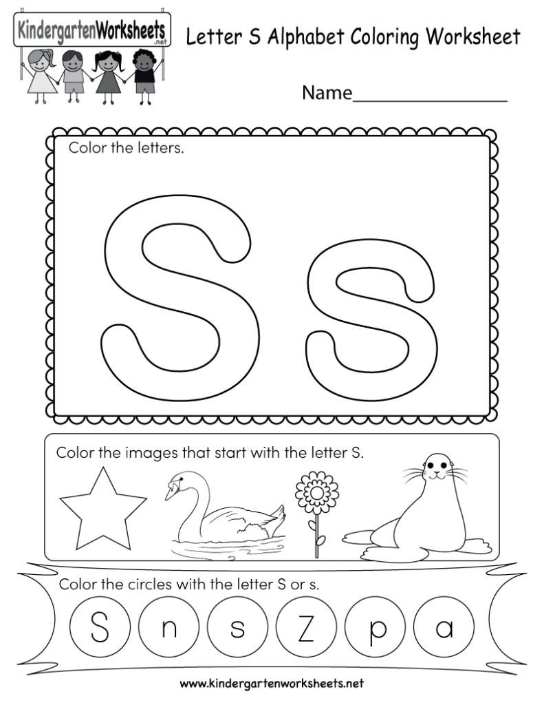 Letter S Coloring Worksheet   Free Kindergarten English With Letter S Worksheets For Toddlers