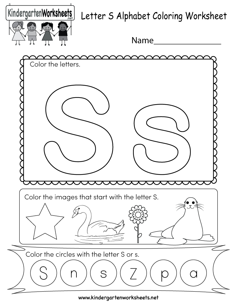 Letter S Coloring Worksheet - Free Kindergarten English with Letter S Worksheets For Toddlers