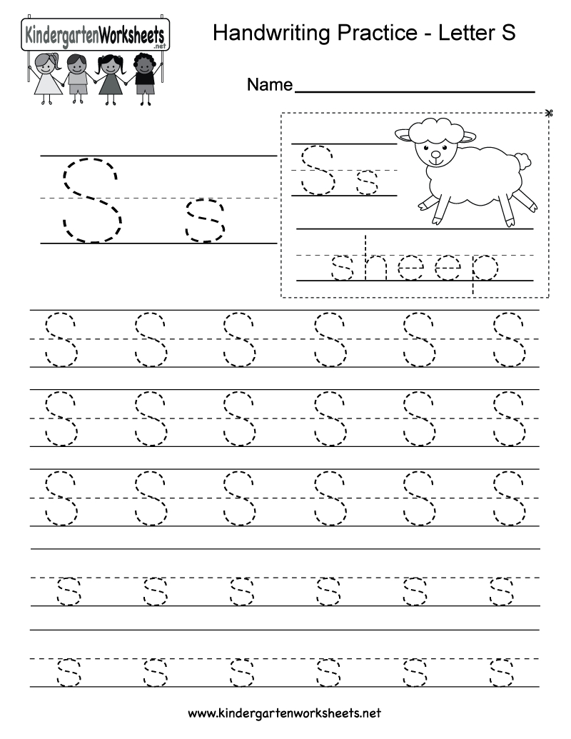 Letter S Writing Practice Worksheet - Free Kindergarten pertaining to Letter S Worksheets Printable