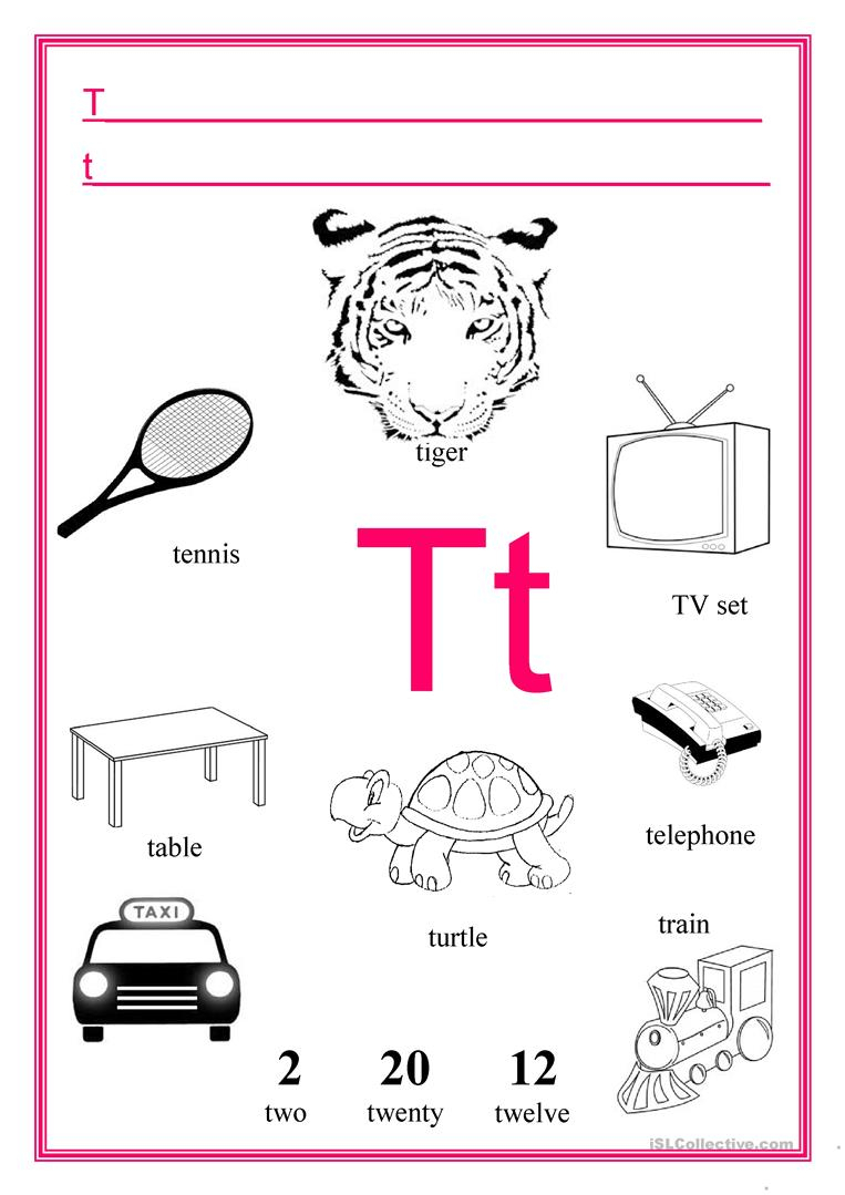 Letter T - English Esl Worksheets for T Letter Worksheets