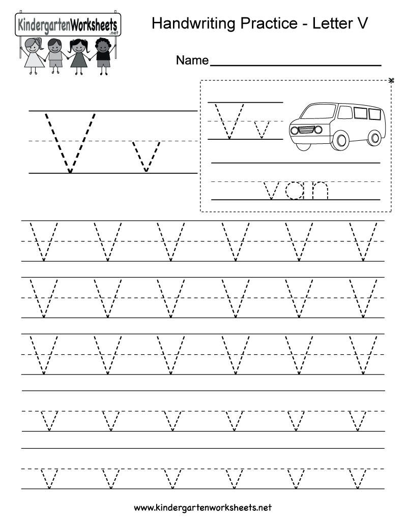 Letter V Handwriting Worksheet For Kindergarteners. You Can throughout Preschool Alphabet V Worksheets