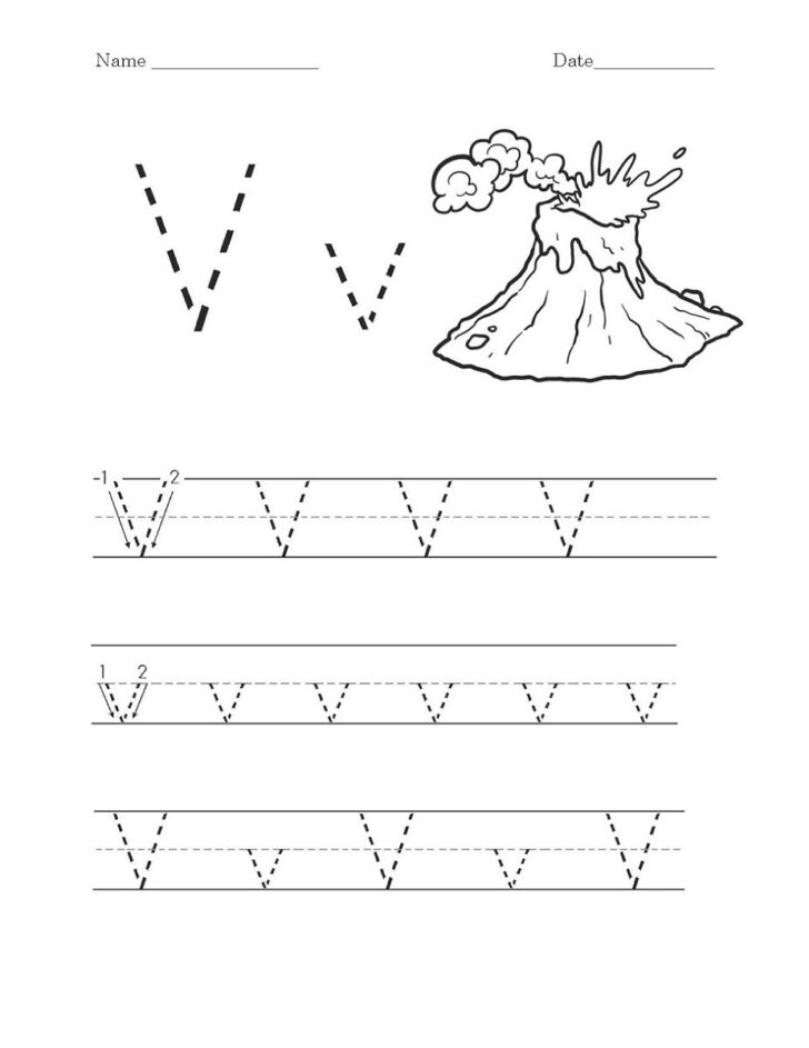 Preschool Alphabet V Worksheets