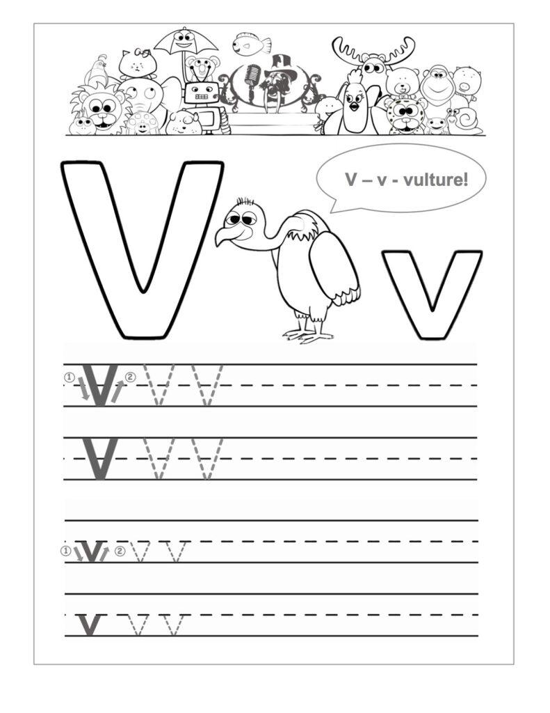 Letter V Worksheets To Print | Activity Shelter With Letter V Worksheets For Kindergarten