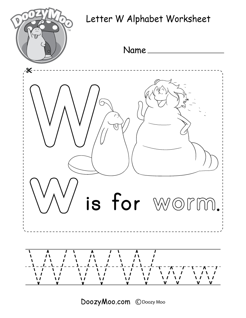 Letter W Alphabet Activity Worksheet - Doozy Moo inside W Letter Worksheets