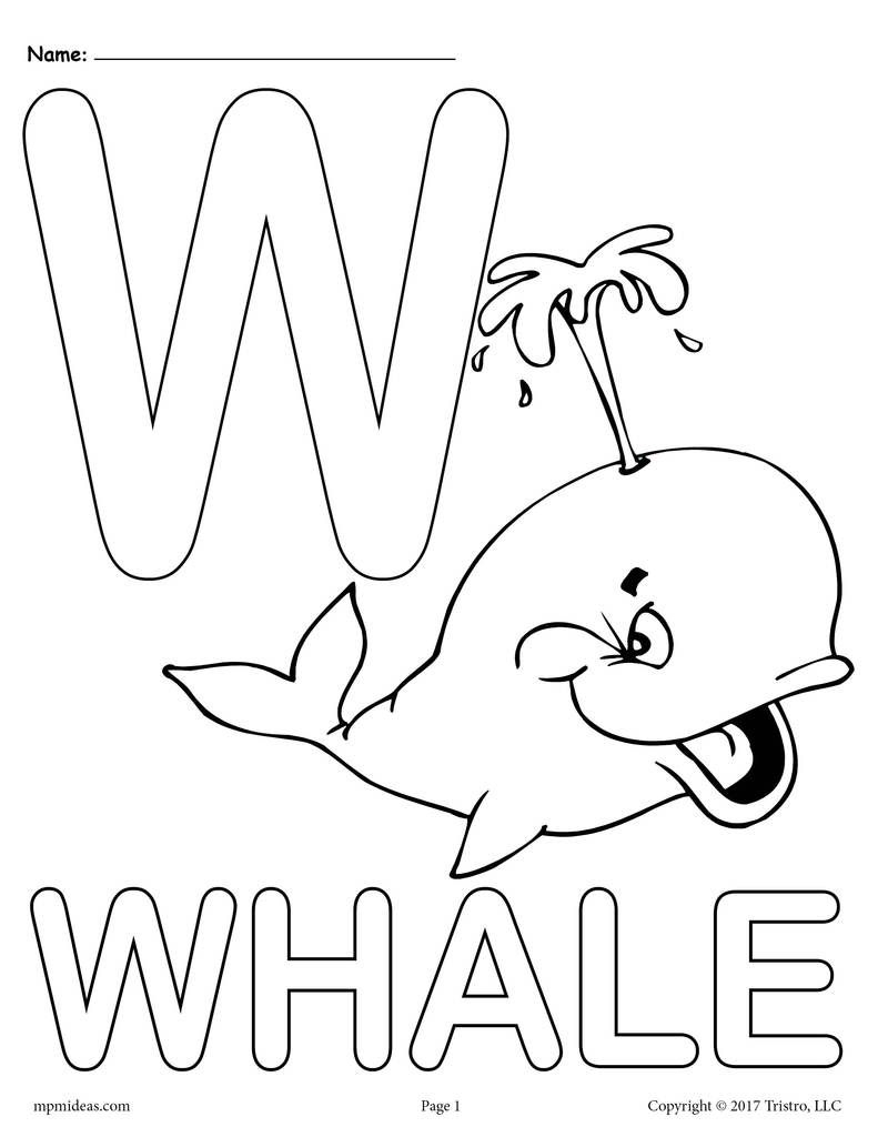 Letter W Alphabet Coloring Pages - 3 Free Printable Versions with regard to Letter W Worksheets For Pre K