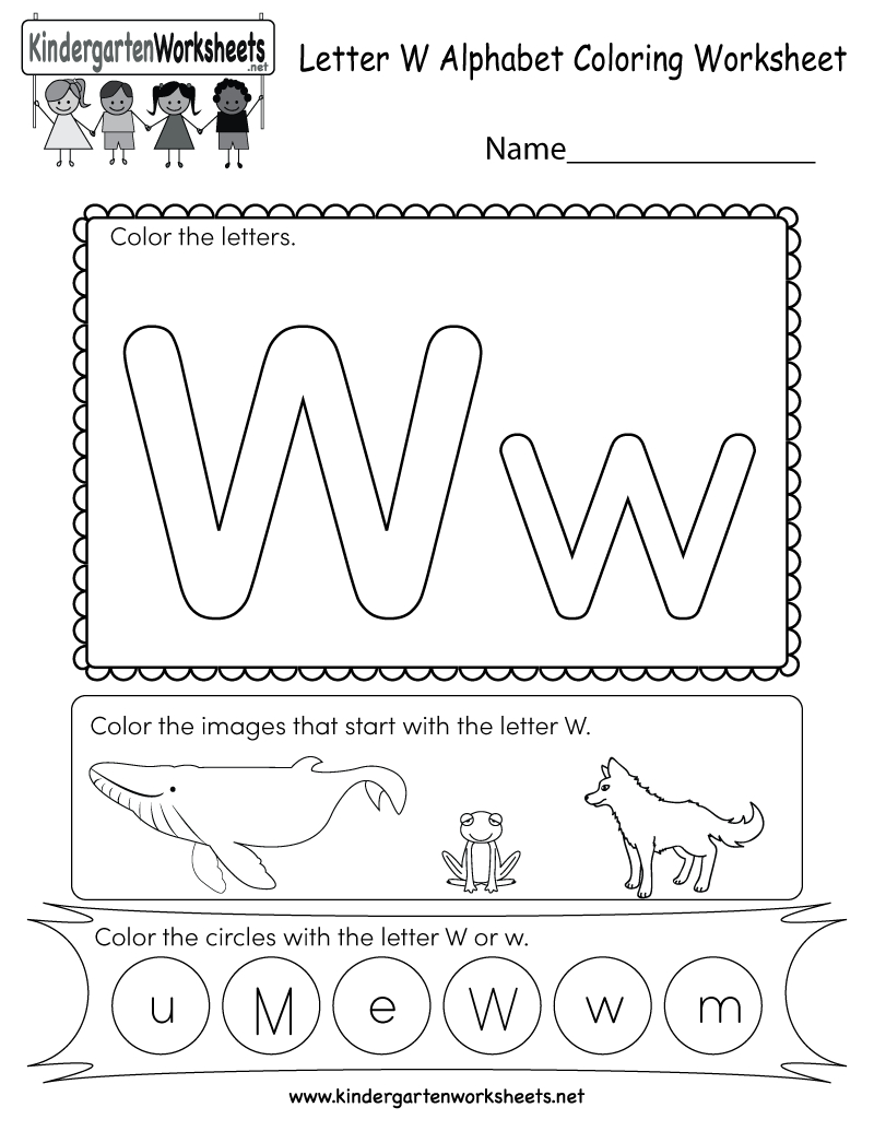 Letter W Coloring Worksheet - Free Kindergarten English intended for W Letter Worksheets