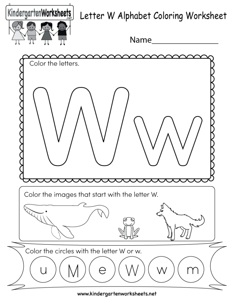 Letter W Coloring Worksheet   Free Kindergarten English With Letter W Worksheets
