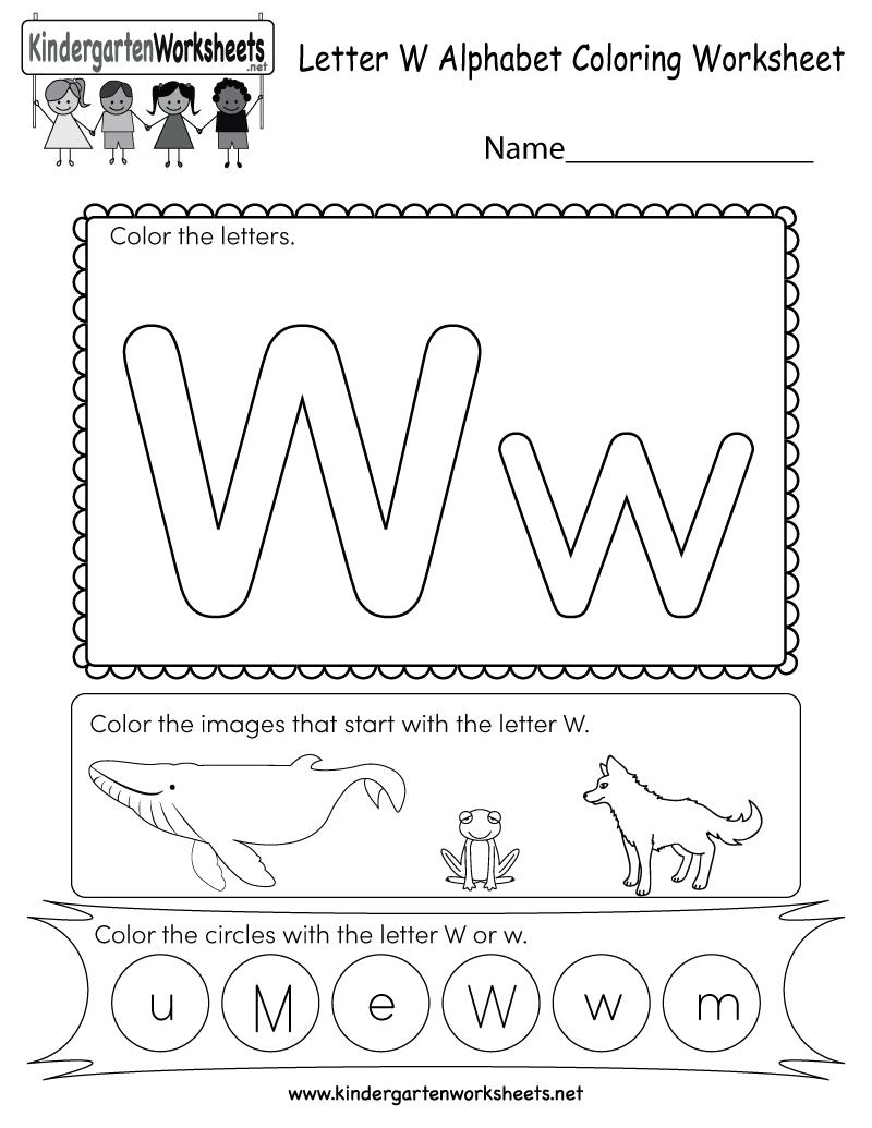 Letter W Coloring Worksheet - Free Kindergarten English with Letter W Worksheets