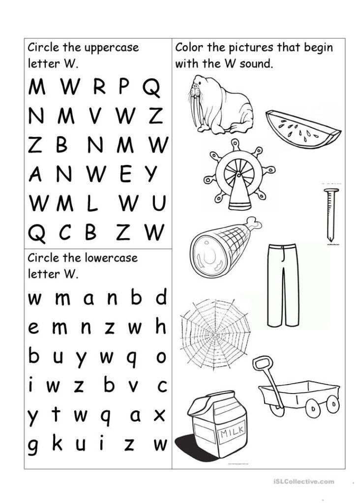 Letter W Worksheet   English Esl Worksheets Within W Letter Worksheets