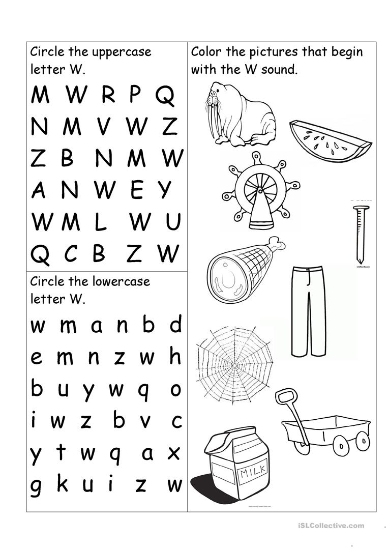Letter W Worksheet - English Esl Worksheets within W Letter Worksheets