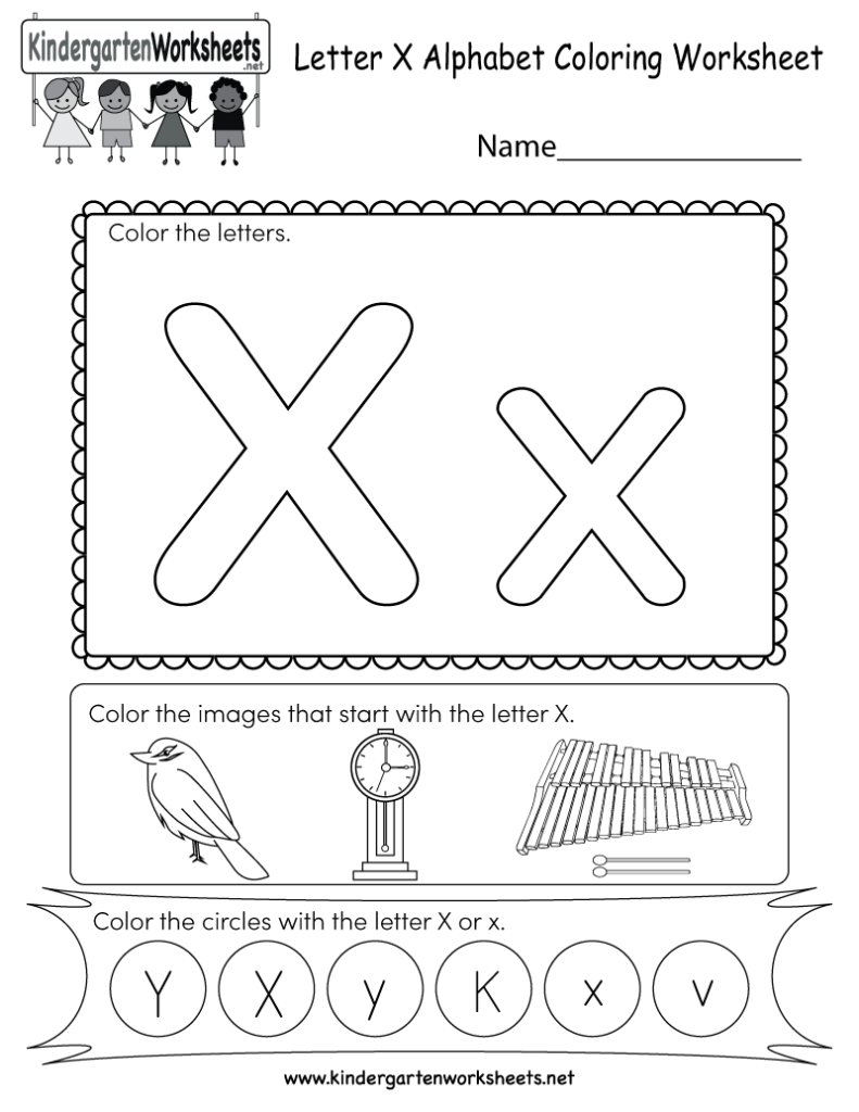 Letter X Coloring Worksheet   Free Kindergarten English In X Letter Worksheets