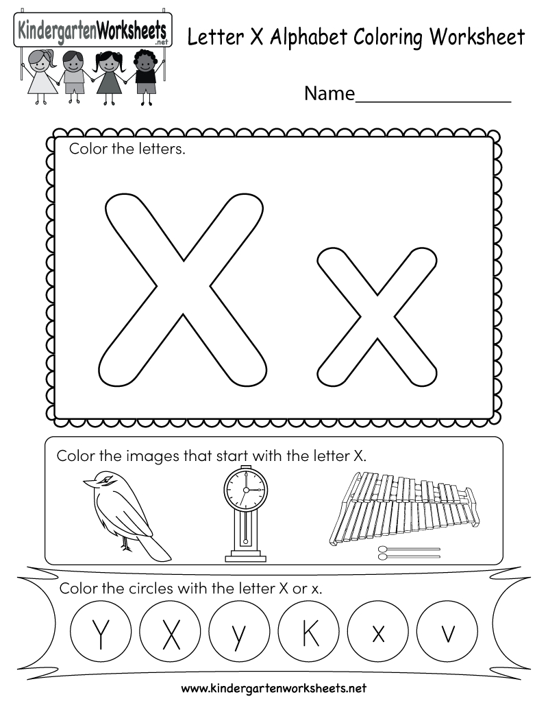 Letter X Coloring Worksheet - Free Kindergarten English in X Letter Worksheets
