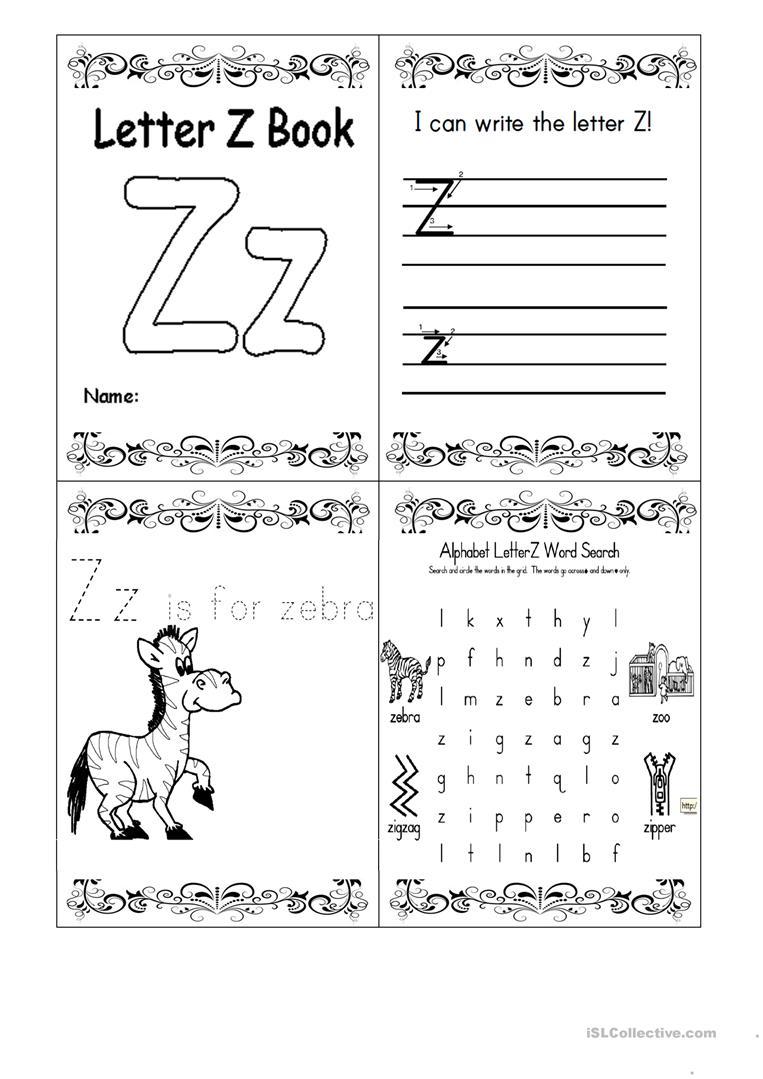Letter Z Booklet - English Esl Worksheets regarding Letter Z Worksheets For Kindergarten