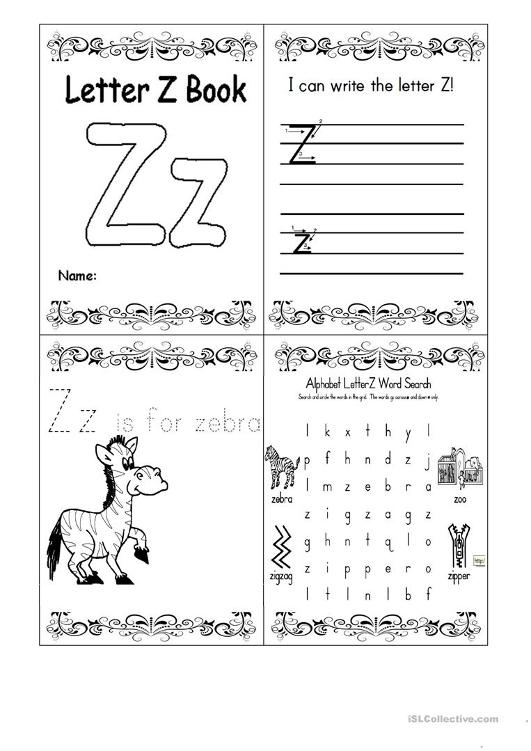 Letter Z Booklet - English Esl Worksheets with regard to Alphabet Worksheets A To Z Activity Pages
