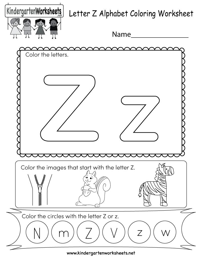 Letter Z Coloring Worksheet - Free Kindergarten English in Letter Z Worksheets For Kindergarten