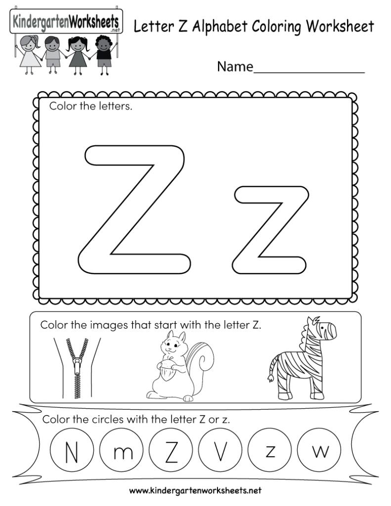 Letter Z Coloring Worksheet   Free Kindergarten English In Letter Z Worksheets Pdf