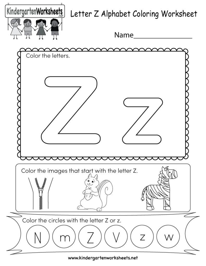 Letter Z Coloring Worksheet   Free Kindergarten English Inside Letter Z Worksheets