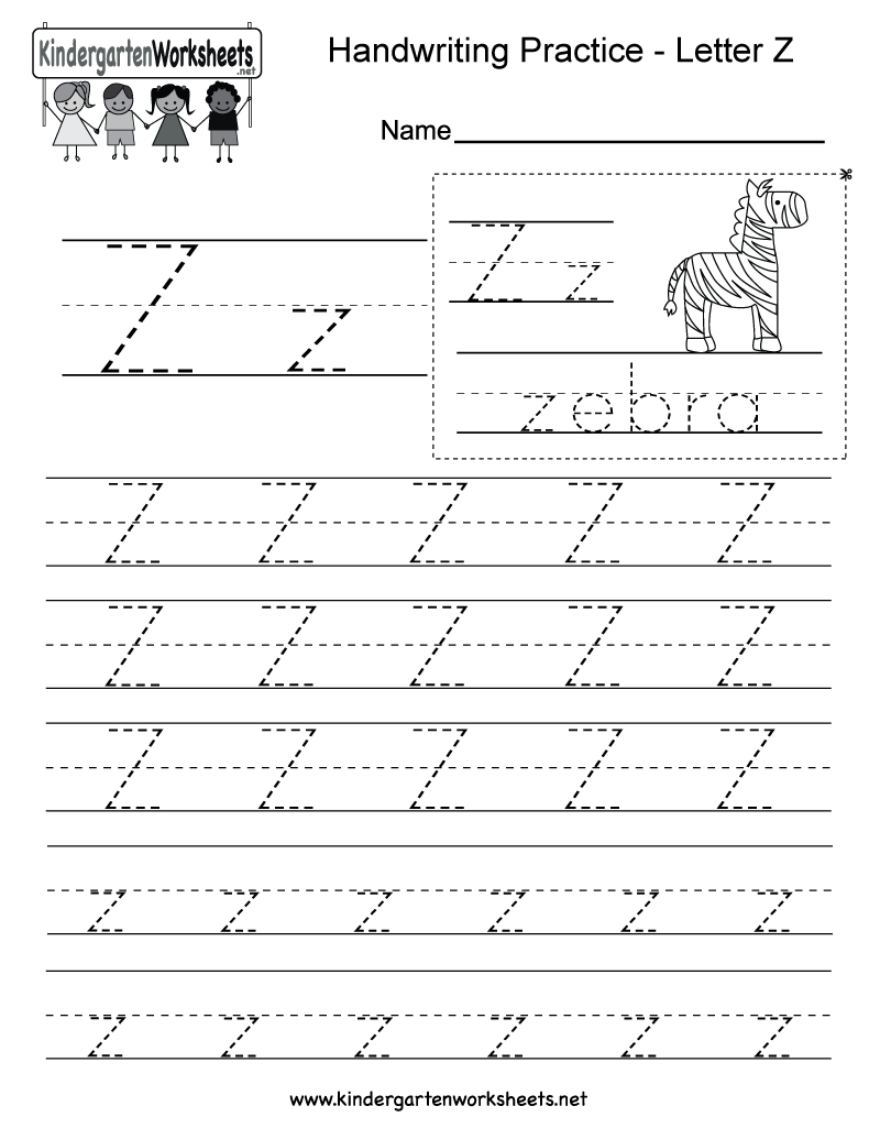 Letter Z Writing Practice Worksheet - Free Kindergarten for Alphabet Handwriting Worksheets A To Z Free Printables