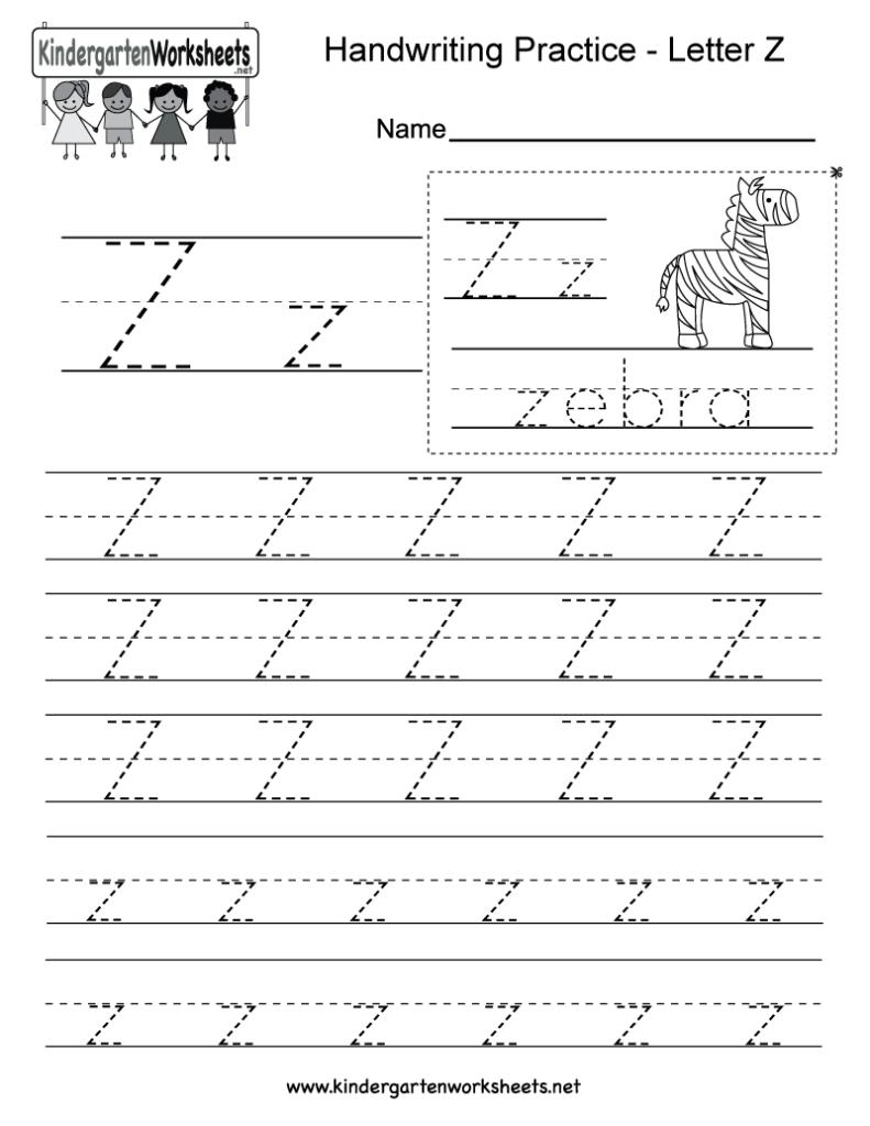 Letter Z Writing Practice Worksheet   Free Kindergarten Inside Alphabet Handwriting Worksheets A To Z Printable