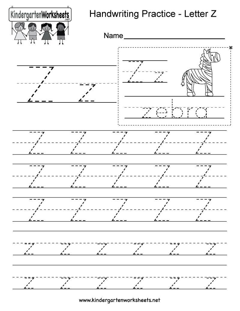 Letter Z Writing Practice Worksheet - Free Kindergarten inside Alphabet Handwriting Worksheets A To Z Printable