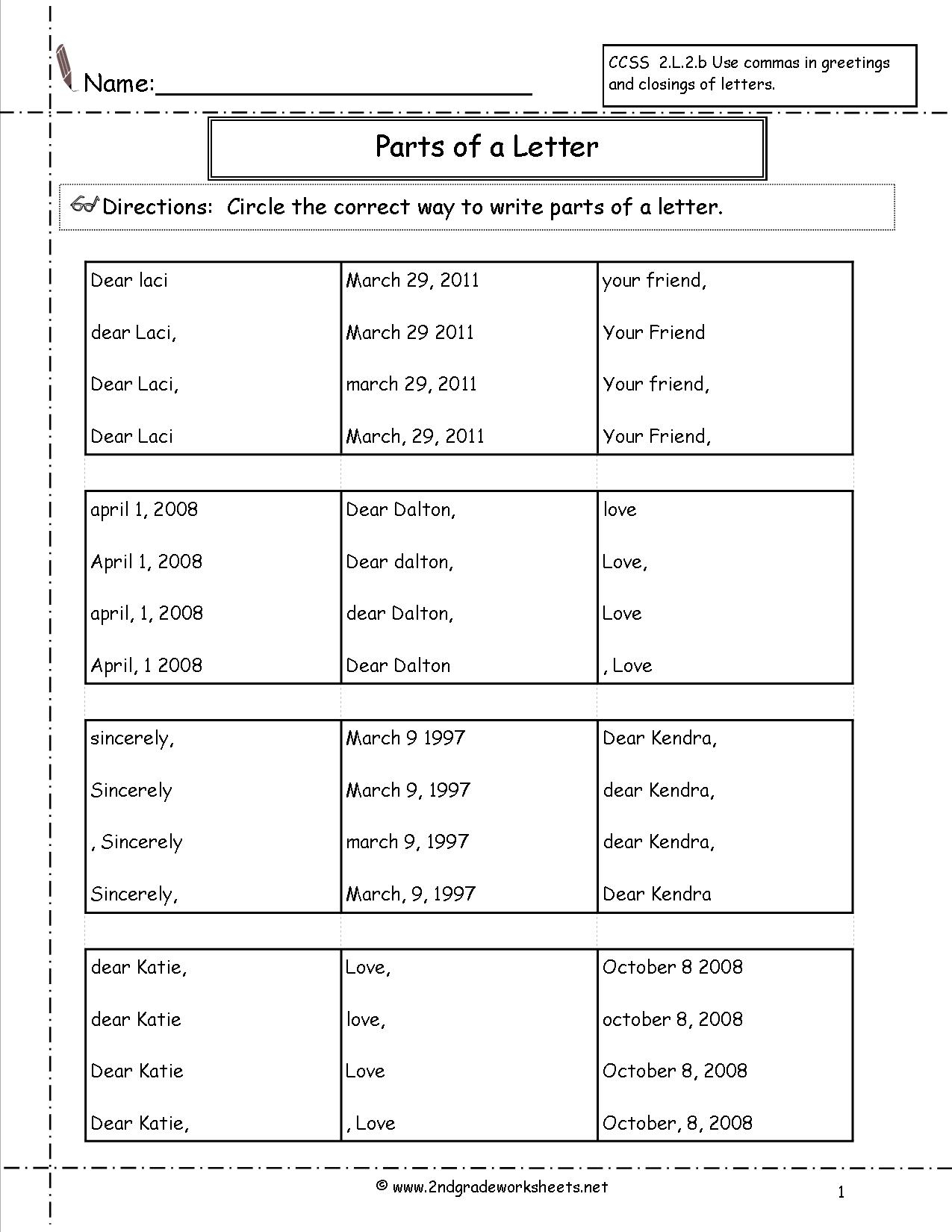 Letters And Parts Of A Letter Worksheet pertaining to Letter Writing Worksheets For Grade 3