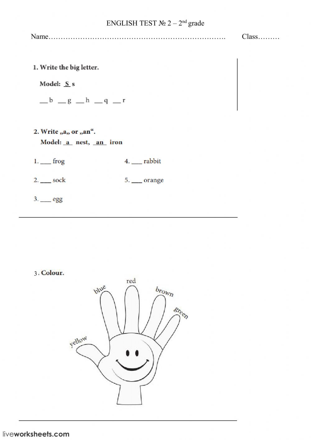 Letters, Colours, A - An - Interactive Worksheet within Grade 1 Alphabet Worksheets
