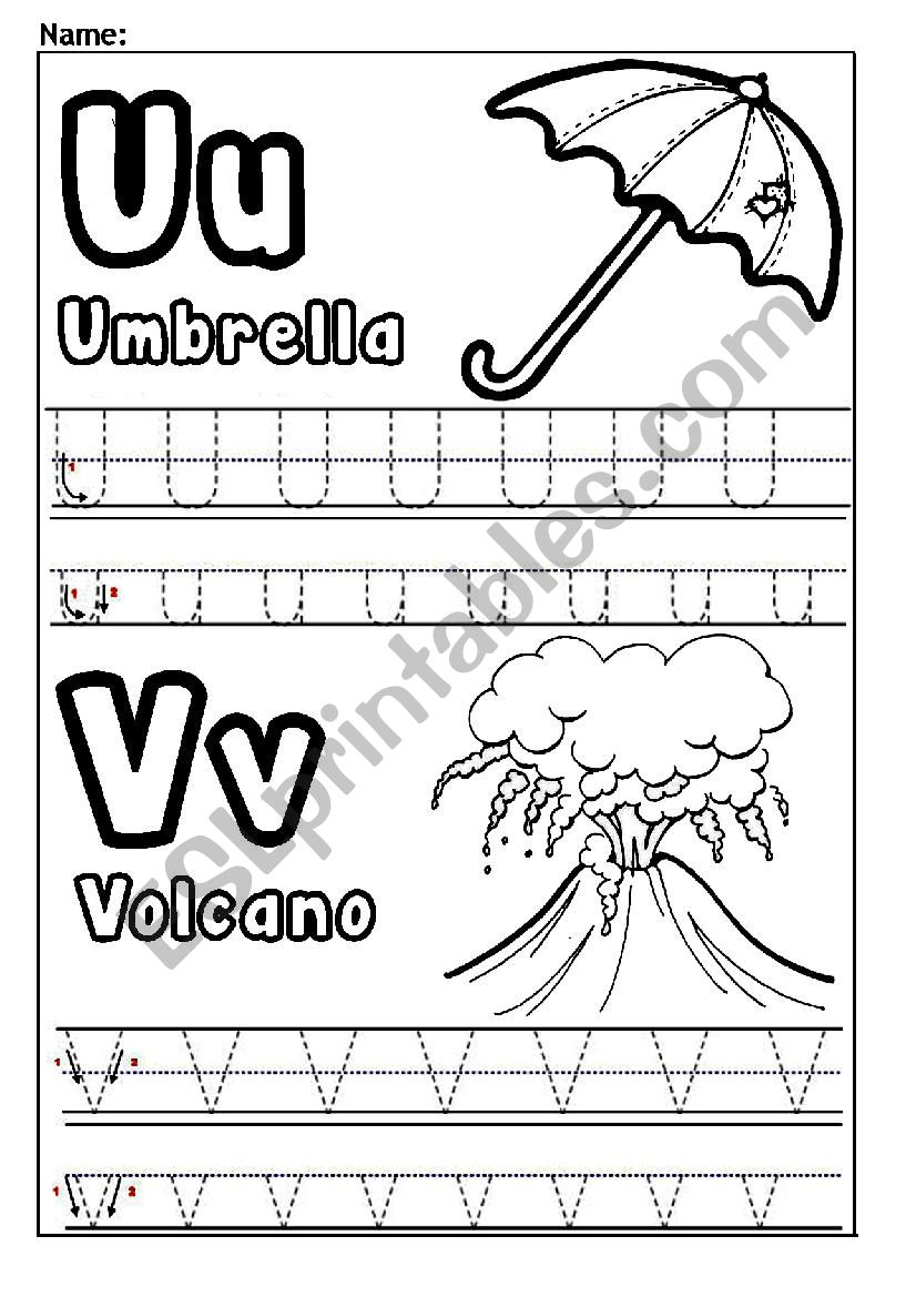 Letters U And V - Esl Worksheetjessamay27 pertaining to Alphabet V Worksheets
