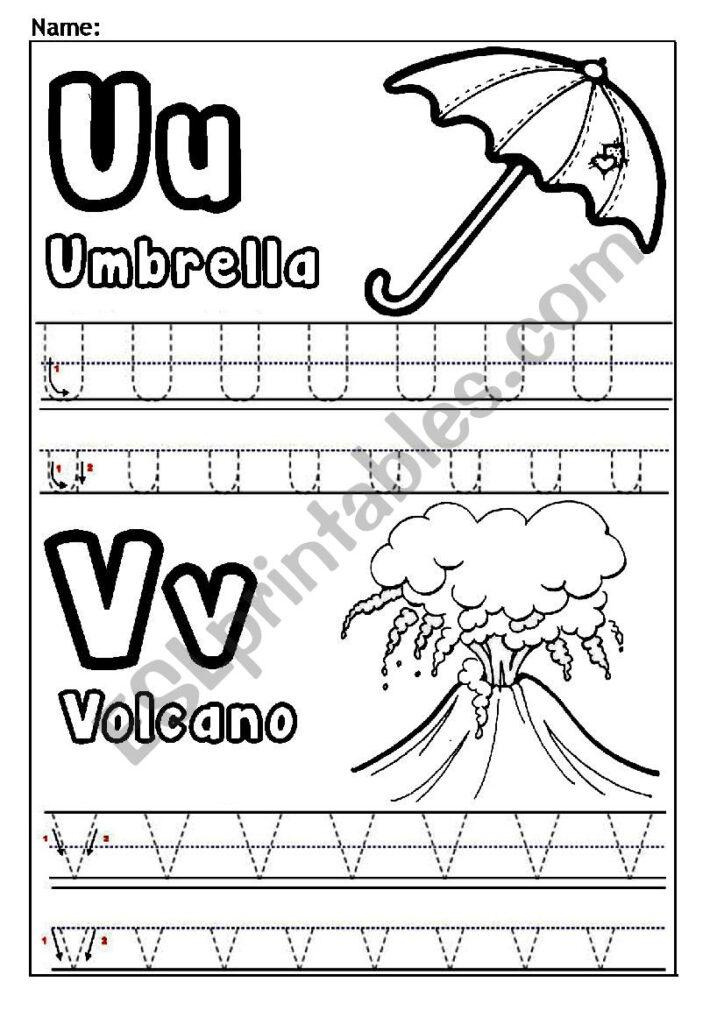 Letters U And V   Esl Worksheetjessamay27 With Letter V Worksheets