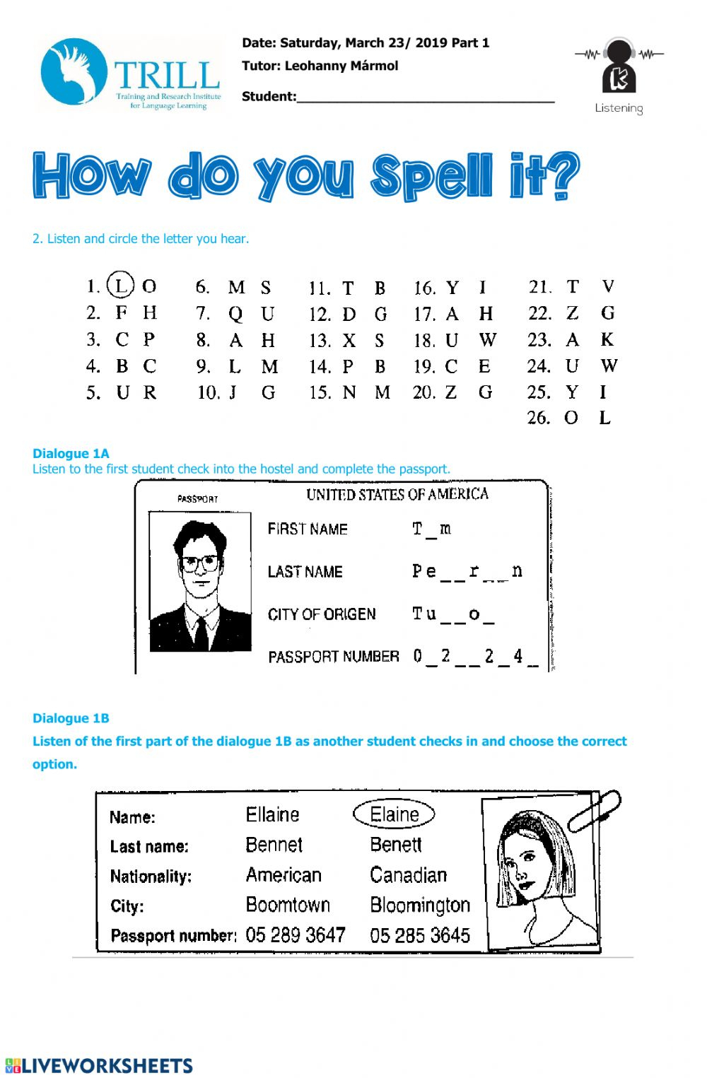 Listening Spelling Alphabet - Interactive Worksheet for Alphabet Spelling Worksheets