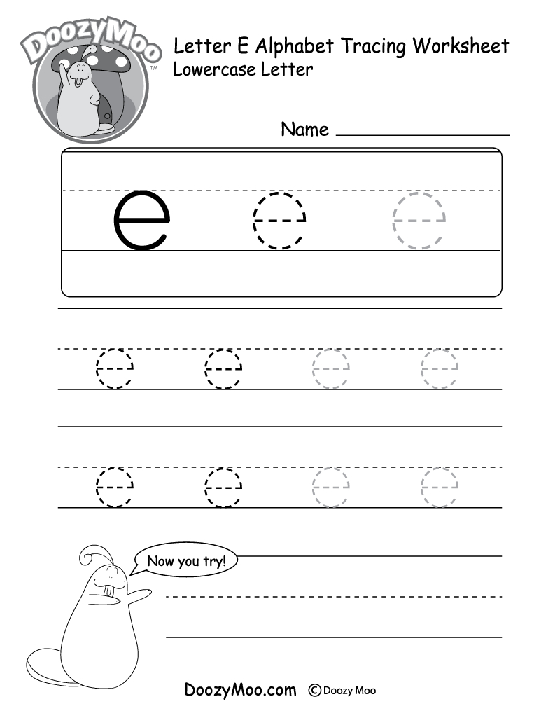 """Lowercase Letter """"e"""" Tracing Worksheet - Doozy Moo with E Letter Worksheets"""