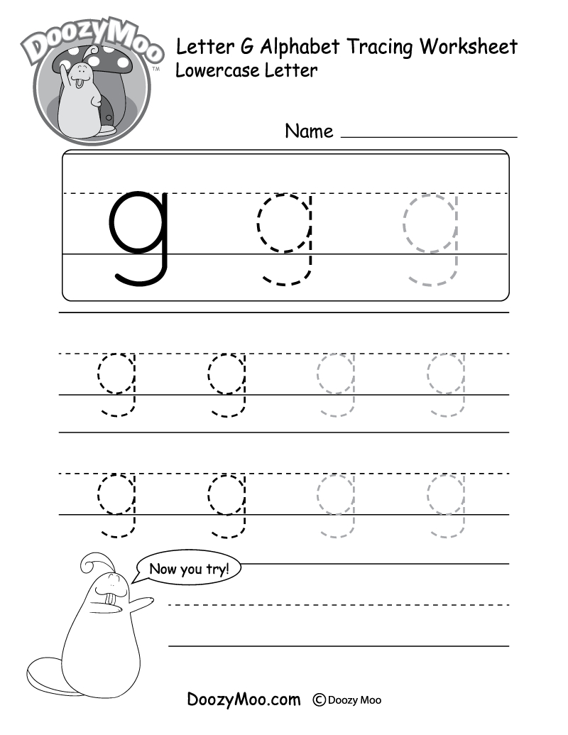 "Lowercase Letter ""g"" Tracing Worksheet - Doozy Moo with Letter G Worksheets Pdf"