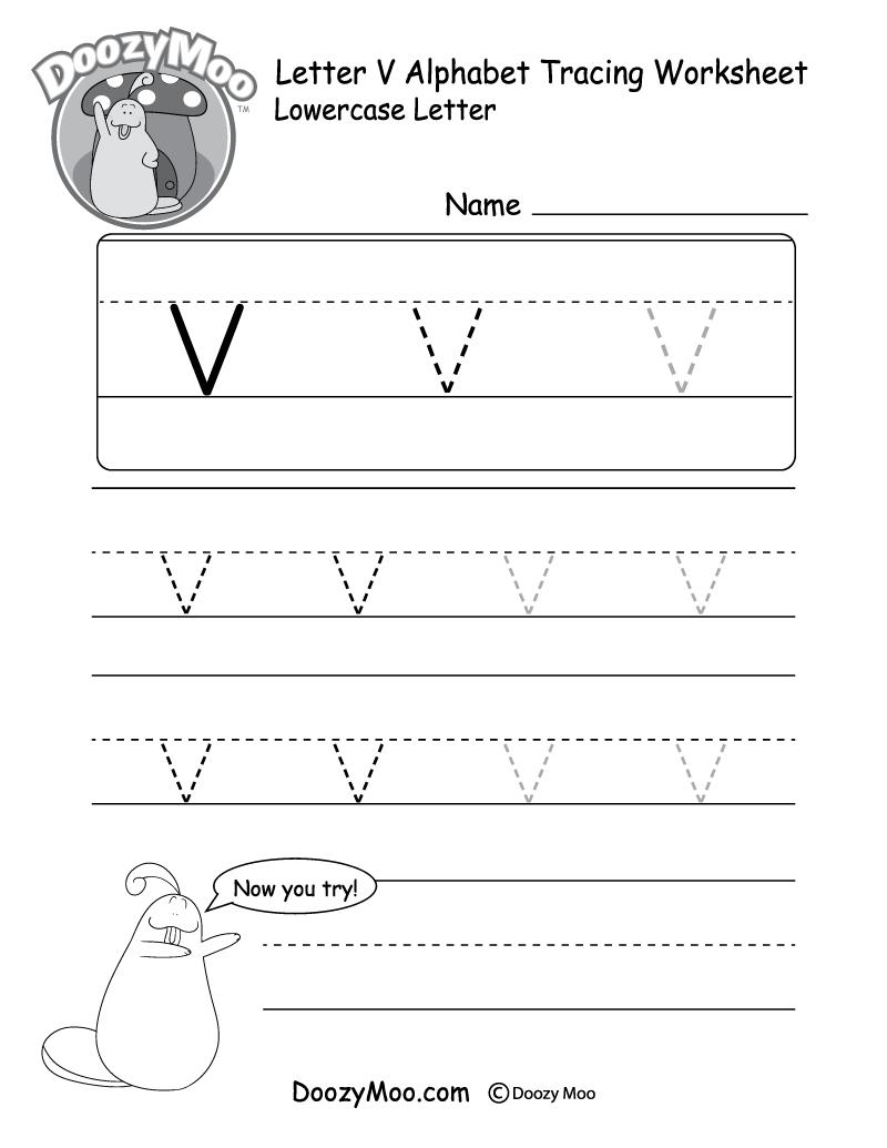 "Lowercase Letter ""v"" Tracing Worksheet - Doozy Moo pertaining to Letter V Worksheets Printable"