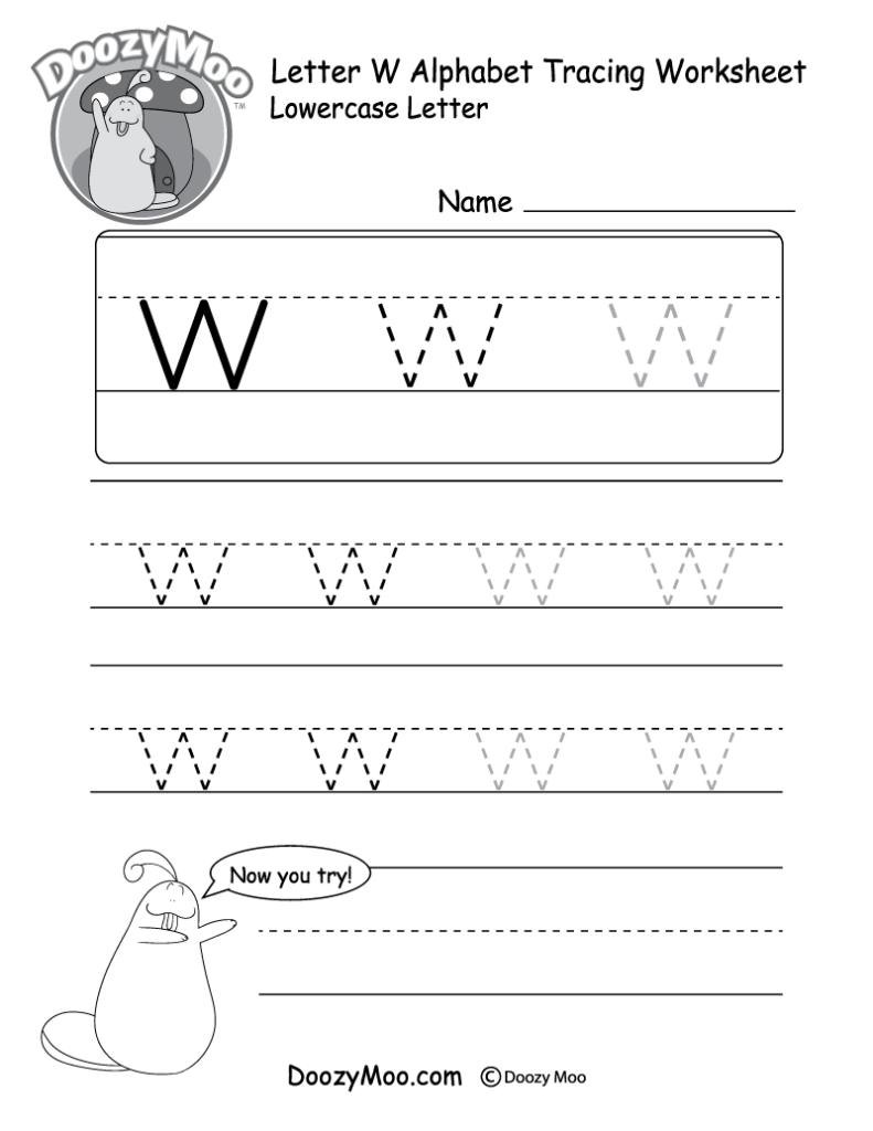 """Lowercase Letter """"w"""" Tracing Worksheet   Doozy Moo Throughout Alphabet Worksheets W"""