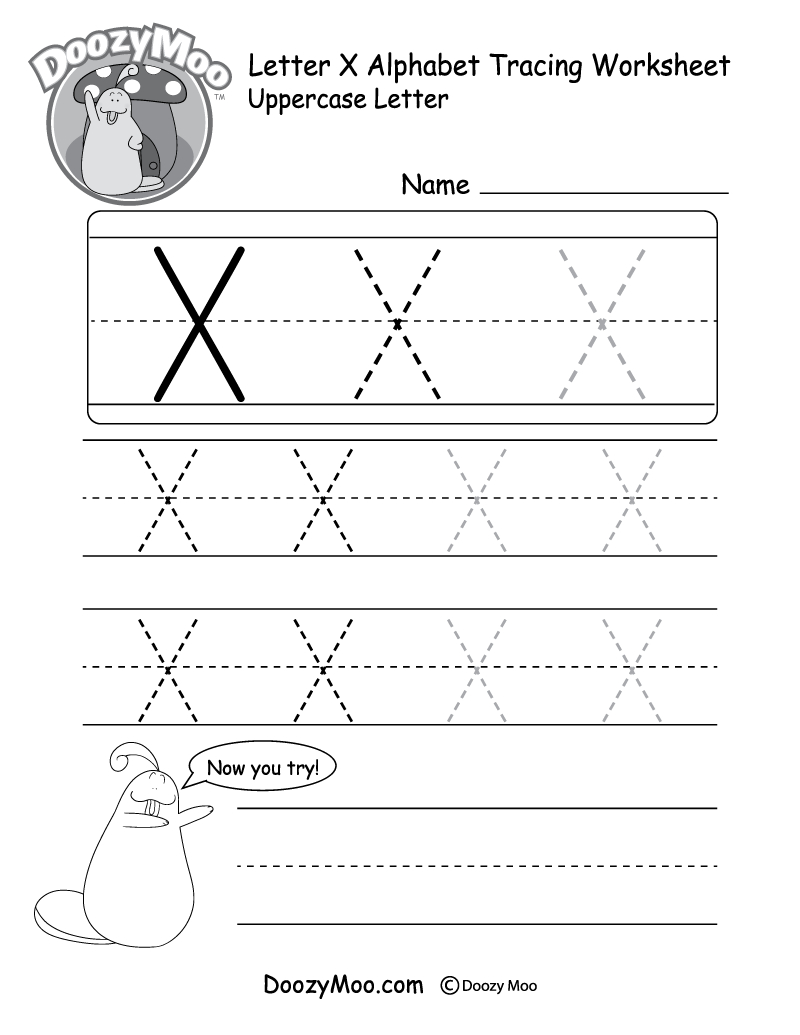 """Lowercase Letter """"x"""" Tracing Worksheet - Doozy Moo pertaining to Letter X Worksheets Free"""