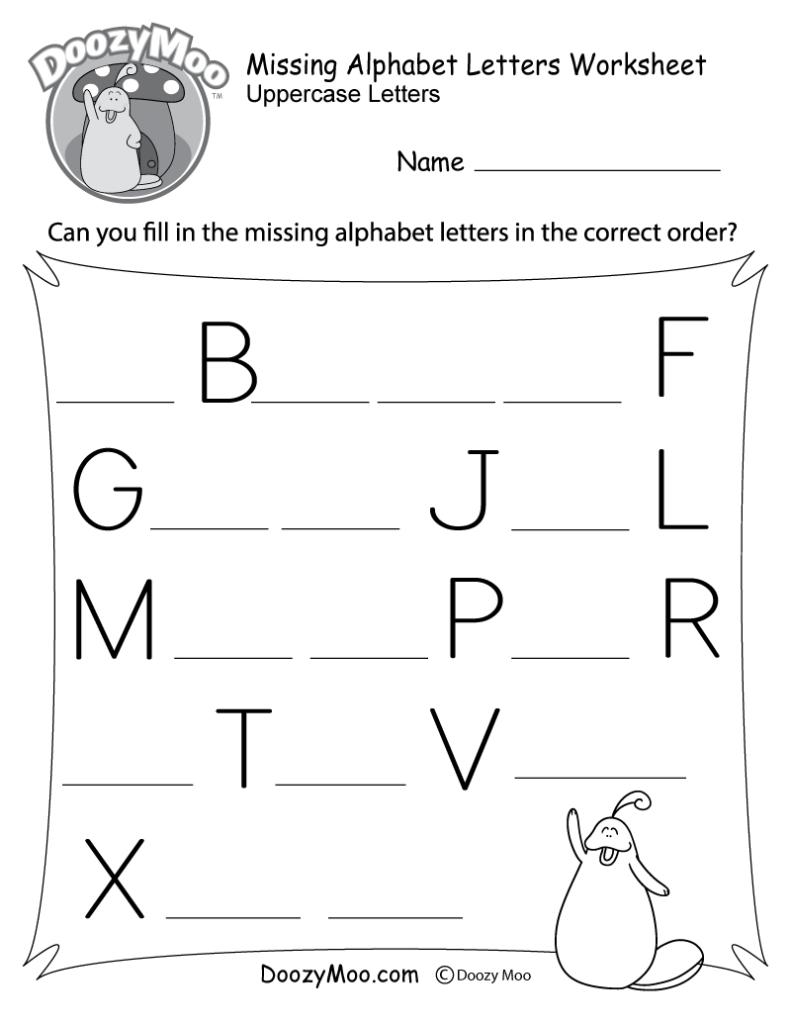 Missing Alphabet Letters Worksheet (Free Printable)   Doozy Moo With Alphabet Missing Worksheets