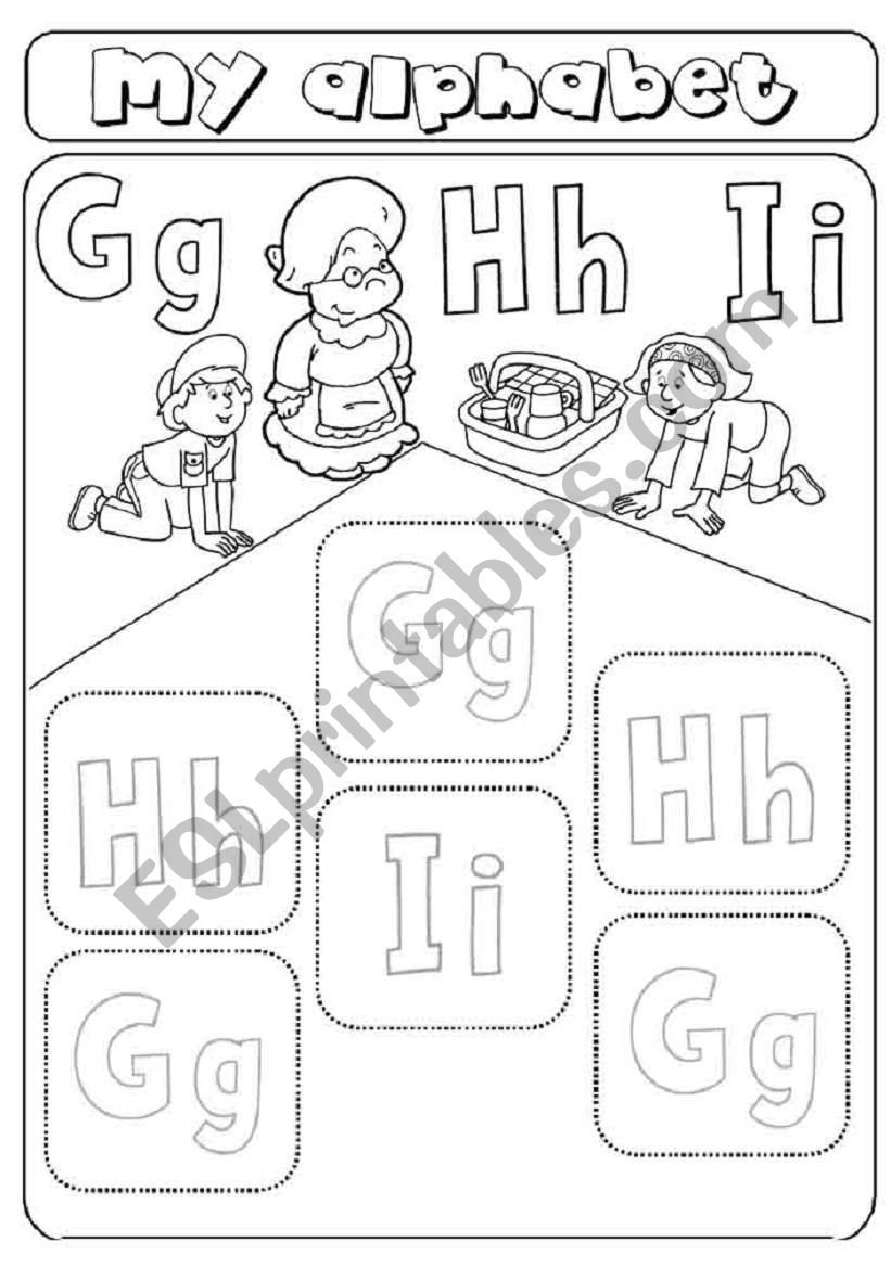 My Alphabet - Letters G,h,i - Cut And Paste - Esl Worksheet throughout Letter H Worksheets Cut And Paste